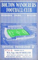 Bolton Wanderers v Sunderland 1957/8 (11 Sep)