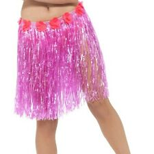 Hawaiian Fancy Dress Hula Skirt Grass Skirt with Flowers Pink 46cm by Smiffys