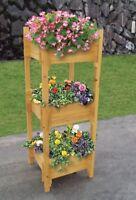 Gardenwize 3 Tier Free Standing Wooden Yard Garden Flowers Plants Soil Planter