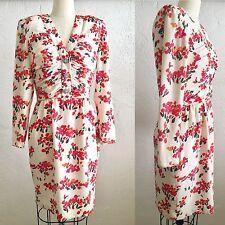 Vtg VALENTINO Silk Floral Rhinestone Detail Dress Italy Sz 6