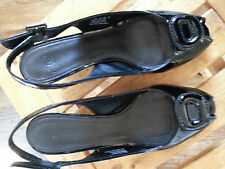 $79 CLARKS BAHAMA BEACH BLACK PATENT SANDALS SIZE 7 M Heel Wedge