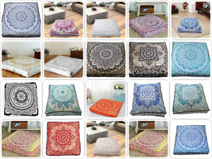 """35"""" Indian Cotton Large Square Floral Ombre Mandala Design Floor Cushion Cover"""
