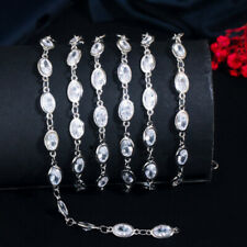 White Gold CZ Long Oval 50cm Necklace Link Chain DIY Handmade Jewelry Findings
