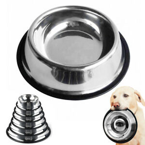 Large Dog Bowl Stainless Steel Non Slip Pet Puppy Food Water Dish Feeder Feeding