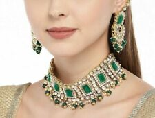 Indian Kundan Green Pearl Choker Necklace Earrings Women Bollywood Jewelry Set