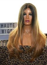 """31"""" OMBRE DEEP BLONDE BROWN BALAYAGE STRAIGHT LACE FRONT WIG HUMAN HAIR LONG"""