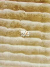 "FAUX FAKE FUR STRIPE FRENCH TISSAVEL LIKE FABRIC - Khaki/Ivory - 60"" WIDE A YARD"