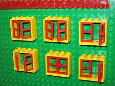 LEGO 6 X Large Double Windows avec cadres et volets/Vitres-Rouge et Jaune