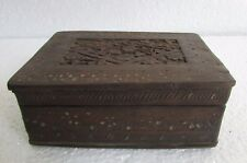 Vintage old Rare Fine Hand Carved Floral Carving Wooden Jewellery Box