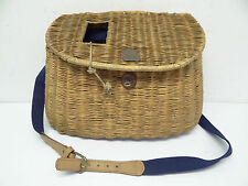Antique Fishing Basket Creel Woven Straw Fish Holder Blue Strapped Used Old