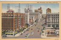 (U)  San Diego, CA - Street Scene of Broadway From Above - 6/11/1945