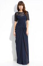 Tadashi Shoji Beaded Ruched Chiffon & Mesh Gown navy Blue Sz 6 New $448