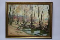 Gustav Müller Gemälde Hochwassergeraben bei Katzwang Nürnberg  1971