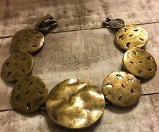 """Premier Designs Jewelry Bohemian 7.25""""  Bracelet Antique matte gold plated disc"""