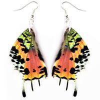 Urania ripheus pink orange sunset moth wing earrings