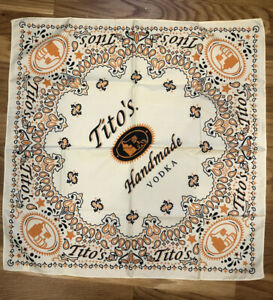 Tito's Handmade Vodka Bandana Scarf Square Yellow Tan Bar Collectible LOT 2 NEW