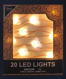 Disney Mickey Mouse 20 LED String Lights Warm White Battery Deco Lamp