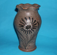 Boulogne Studio Pottery -Attractive Stoneware Vase With Wavy Top & Flower Design