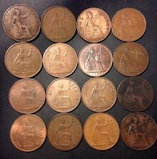 Vintage Great Britain Coin Lot! 1896-1967 - 16 Older Large Pennies - Lot #718
