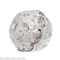 Großverkauf Metallperlen Rondelle Perlen Ball Beads Weiß Strass 9x10mm