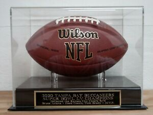 Super Bowl 55 Football Display Case W/ A Tampa bay Buccaneers Engraved Nameplate