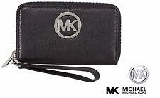 MICHAEL KORS Large MK Black MULTI-FUNCTION PHONE CASE WRISTLET WALLET CLUTCH NWT