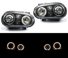99-05 VW GOLF IV MK 4 GTI Dual Halo Angel Eyes Black Headlights DEPO in Pair