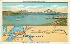 DB Postcard CA H313 Carquinez Bridge Pacific Highway Americas Greatest Multiview