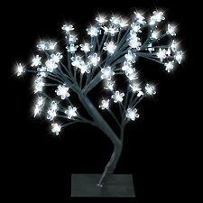 DECORATIVE WHITE LED BONSAI TREE WITH 64 LED FAIRY TWIG LIGHTS TABLE LAMP