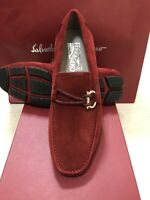 NIB Salvatore Ferragamo Front Red Suede Leather Loafers 8EE