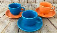Homer Laughlin Fiesta Dinnerware Mugs & Saucers Set of 3 Orange Blue