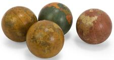 "Set of 4 Geographical World Globe Balls 4"" Multicolor Ornaments Antiqued Finish"