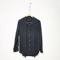 Kate moss Equipment Star Print Tie Blouse Womens Medium M Black Silk Button Down