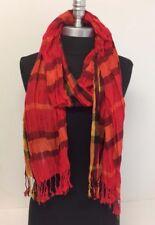 NEW Women Long Soft Fringe Scarf Fashion Crinkle Cotton Blend Wrap Shawl Red