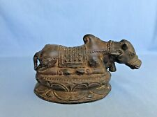Antique Bronze Statue Religious Bull Of Nandi Figure Mount Of Shiva Temple Art