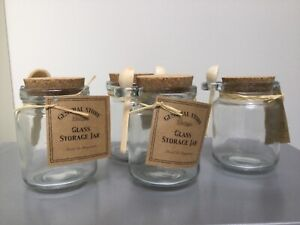 Glass Storage Jar with Cork Lid and   Small Wooden Serving Spoon Spices