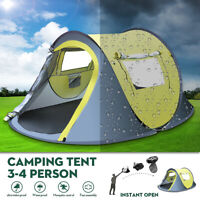 3-4 Person Pop Up Waterproof Camping Tent Quick Automatic Open Outdoor Portable