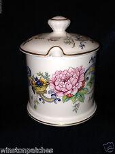 CROWN STAFFORDSHIRE CHELSEA MANOR JAM JELLY JAR & LID FLOWERS FRUIT BASKET
