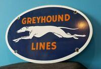 VINTAGE GREYHOUND PORCELAIN GAS BUS LINES TRANSPORTATION AUTO DOG SERVICE SIGN