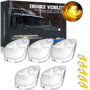 5X Clear Lens Cab Roof Marker Light Covers + Amber LED Kit For Ford F-250 E-350
