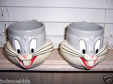 Lot Of 2 Plastic BUGS BUNNY Face Cups Mugs Vintage Warner Bros. 1992