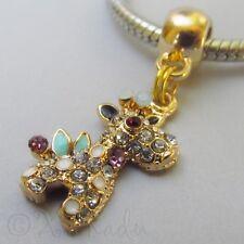 Giraffe Gold Plated Large Hole Rhinestone Charm For European Charm Bracelets