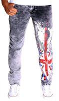 Herren Jeans UK GB Great Britain Hose Cargo Kosmo Verwaschen Clubwear Lupo 3132