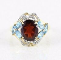 14k Yellow Gold Natural Garnet Ring with Blue Topaz and Diamond Size 7 1/2
