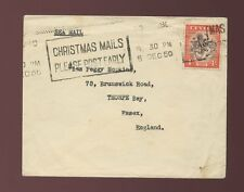 CEYLON UNSEALED MAIL 1950 SEA MAIL to GB 4c MACHINE SLOGAN CANCEL CHRISTMAS MAIL