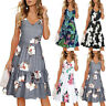 Women's Beach Summer V-Neck Floral Printed Sleeveless Layered Ruffle Swing Dress