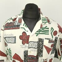 MAYNE Mens Vintage Shirt Crazy 80s 90s 2XL Short Sleeve White RELAXED Abstract
