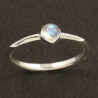 925 Sterling Silver Natural RAINBOW MOONSTONE Gemstone Cute Ring Choose All Size