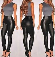 Ladies Women's  High Waist Faux Leather Wet Look Soft Stretchy PU Leggings