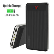 Portable 300000mAh LCD LED Power Bank External 2 USB Battery Charger For Phones